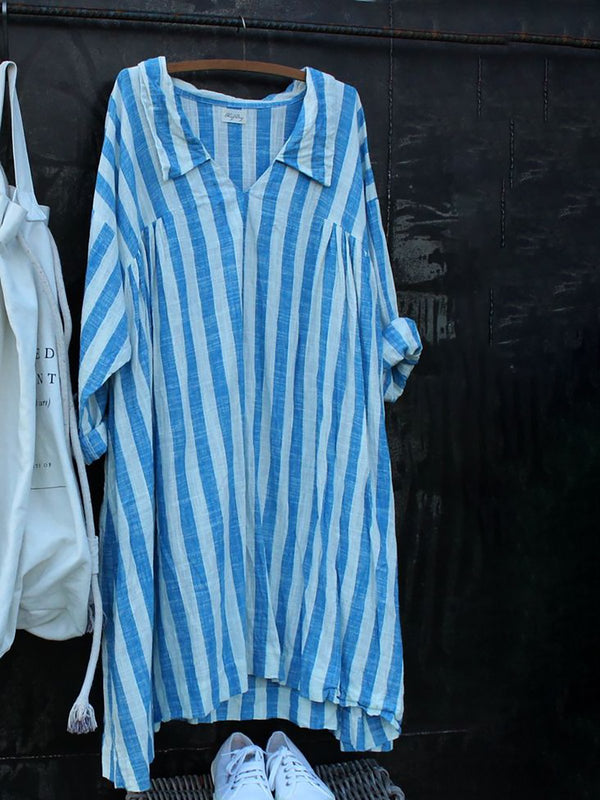 Casual Striped Linen Long Sleeve Shirt Collar Dress