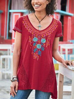 Cotton-Blend Short Sleeve Embroidered Shirts & Tops
