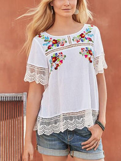White Long Sleeve Patchwork Round Neck Boho Shirts & Tops