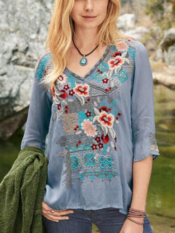 Gray Blue Casual Printed Cotton-Blend V Neck Shirts & Tops