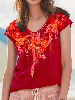 Short Sleeve Boho Shirts T-shirts