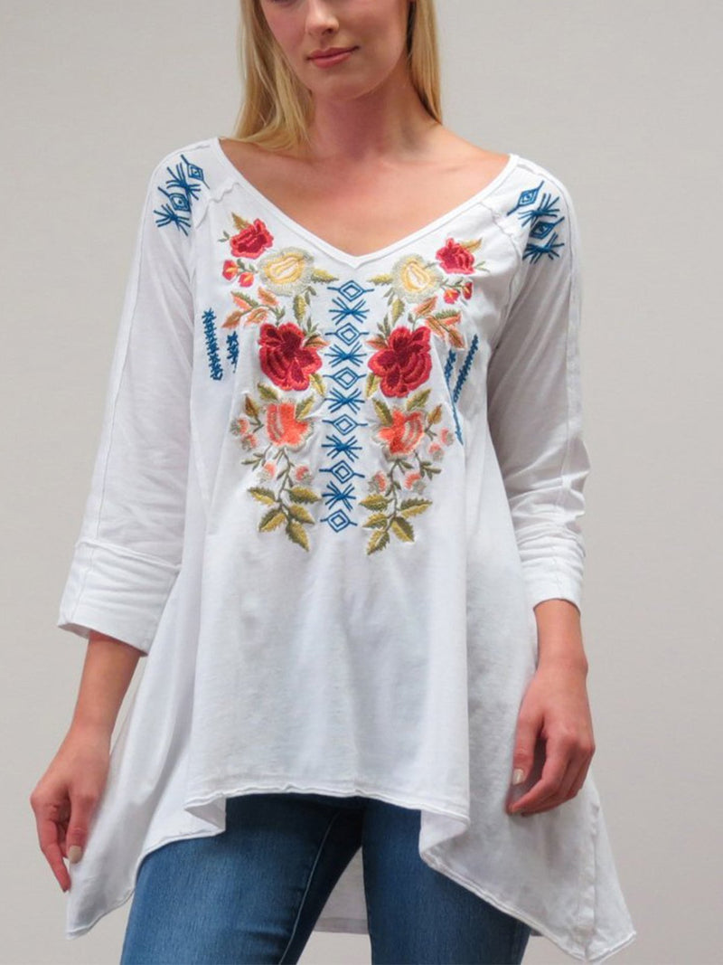 Half Sleeve V Neck Cotton-Blend Casual Shirts & Tops