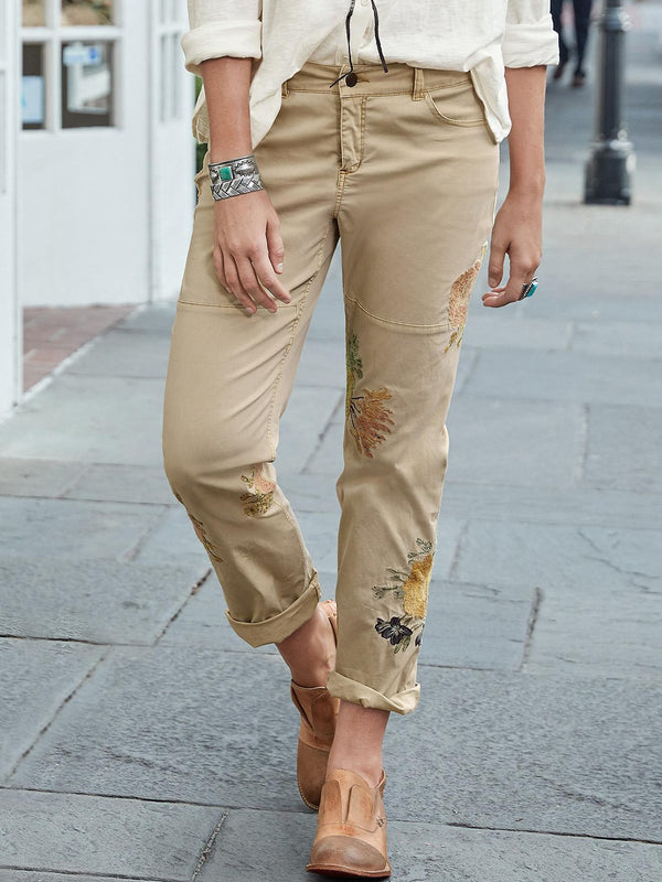 Beige Embroidered Sweet Pants