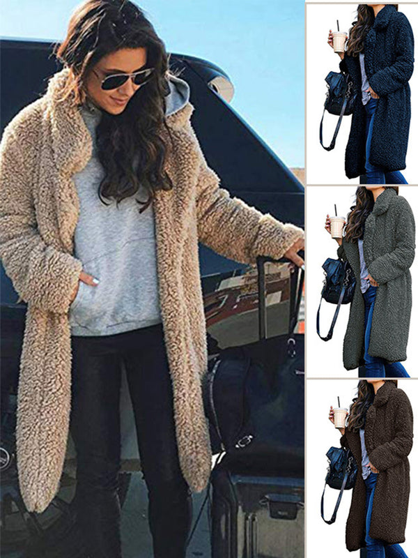 Casual Lapel Collar Long Sleeve Fur Coat