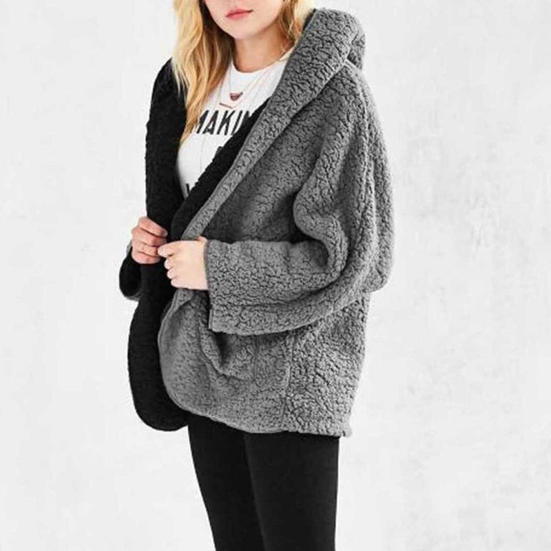 Casual Plus Size Reversible Long Sleeve Hoodie Coat