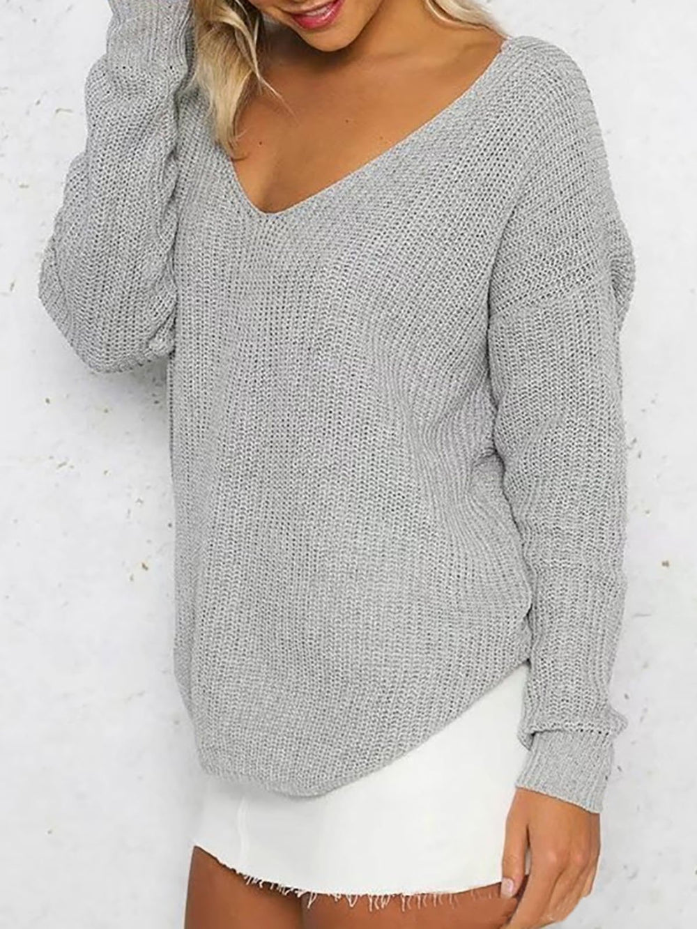 Camel Backless V Neck Long Sleeve Sweater