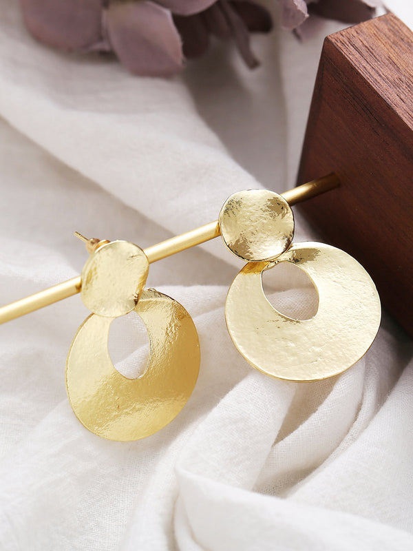 Gold Metal Element Punk Earrings