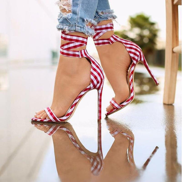 Single Strap Peep-toe Lace Up Summer Sandals
