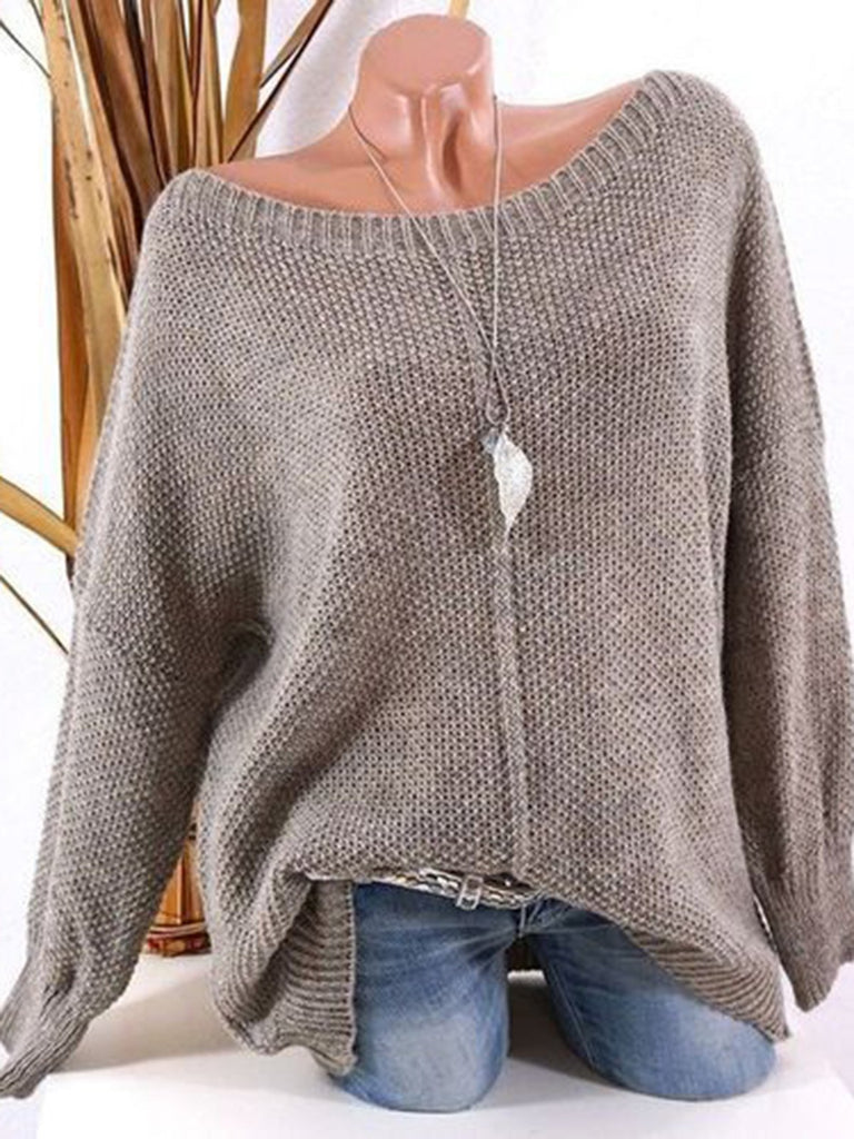 Casual Long Sleeve Solid Round Neck Sweater