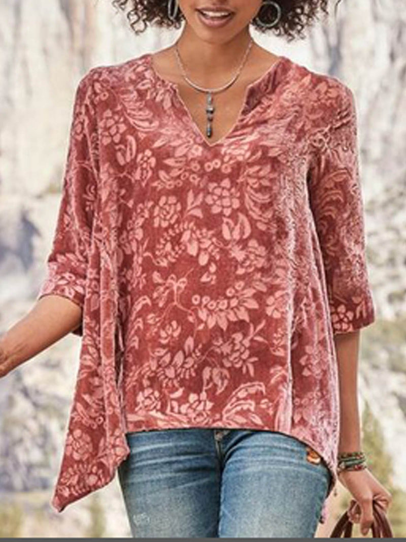 Red Cotton-Blend Half Sleeve Shirts & Tops