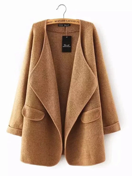 Camel Solid Casual Quilted Long Sleeve Coat