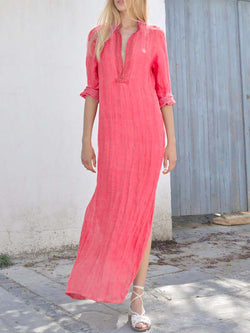 Simple Stand-up Neck Slit Casual Maxi Dress