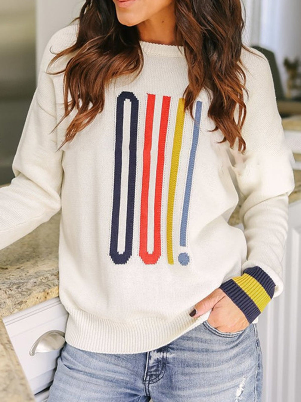 Casual Crew Neck Long Sleeve Knitted Sweater