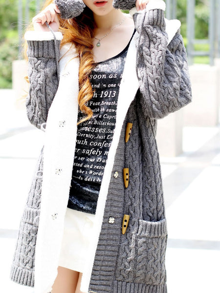 Casual Buttoned Long Sleeve Hoodie