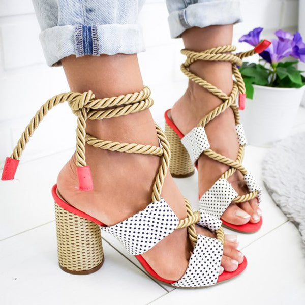 Women's thick heel lace-up sandals