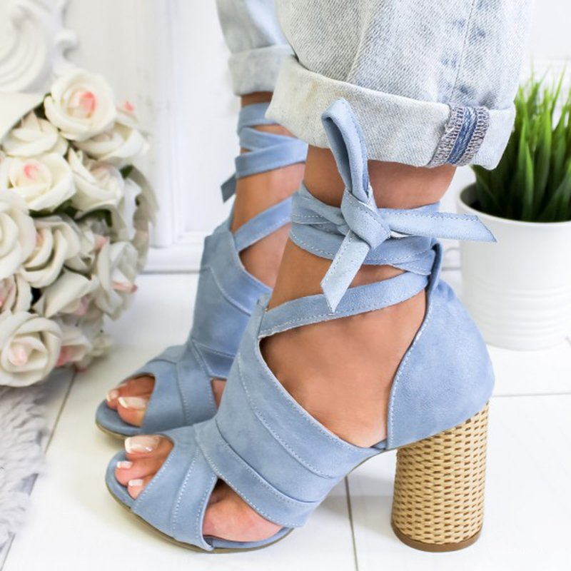 Women Flocking Pumps Sandals Casual Lace Up Shoes