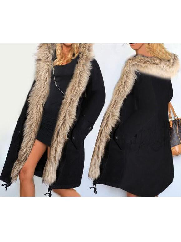 Casual Warm Pockets Faux Fur Hooded Coat