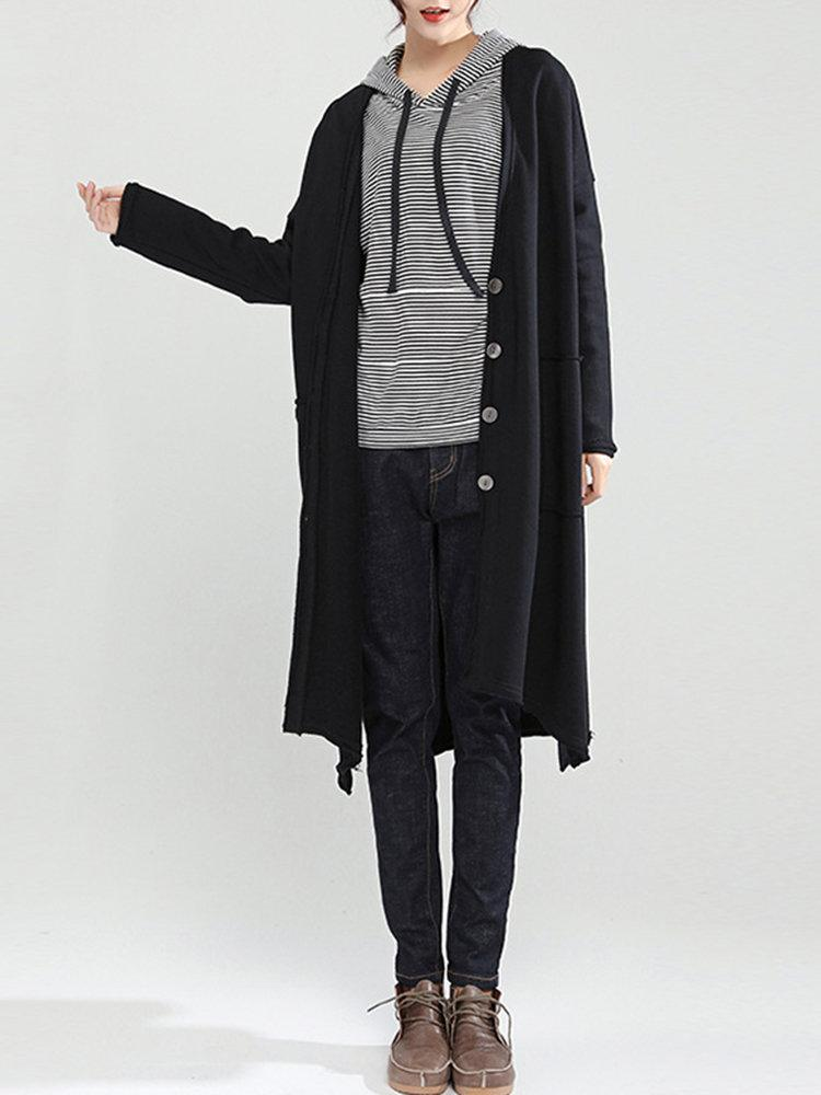 Casual Women Solid Color V-neck Long Sleeve Coat