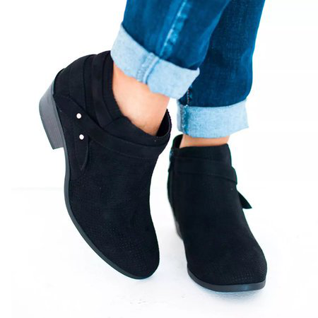 Casual Chunky Heel Zipper Round Toe Ankle Boots