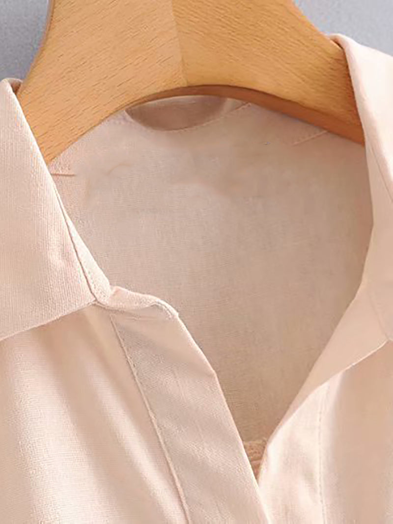Women Shift Half Sleeve Linen Solid Shirts & Tops