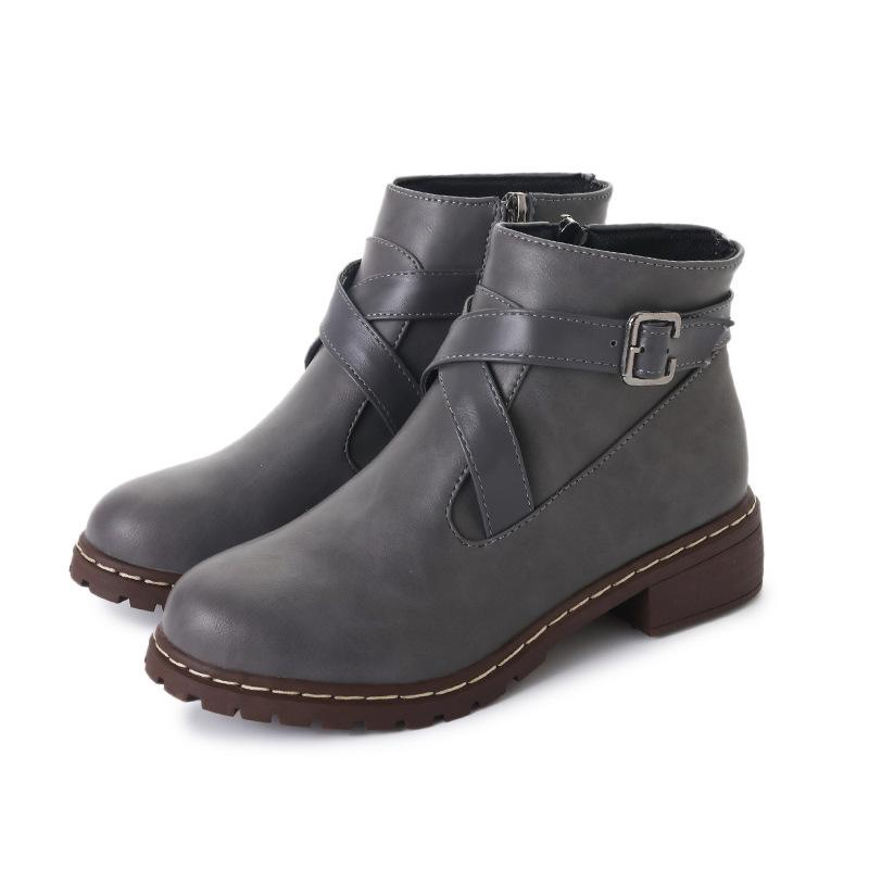 Criss-cross Buckle Chunky Heel Zipper Daily Boots