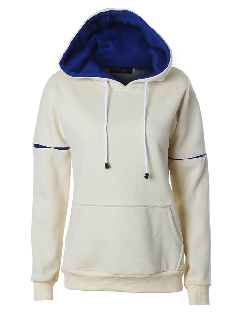Casual Plain Pocket Long Sleeve Hoodie