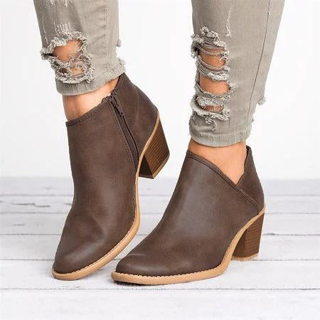 Casual Plus Size Chunky Heel Distressed Boots