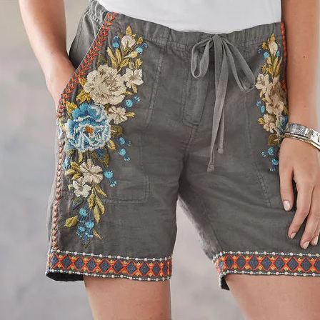 Summer Casual Embroidered Pants