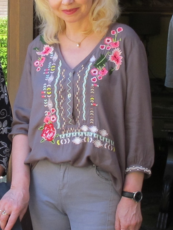 Gray Casual Floral Embroidered Cotton Blouses
