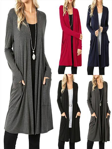 Casual Solid Color Long Sleeve Pockets Cardigan