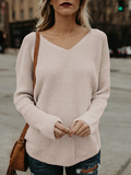 Backless Casual Long Sleeve V Neck Sweater
