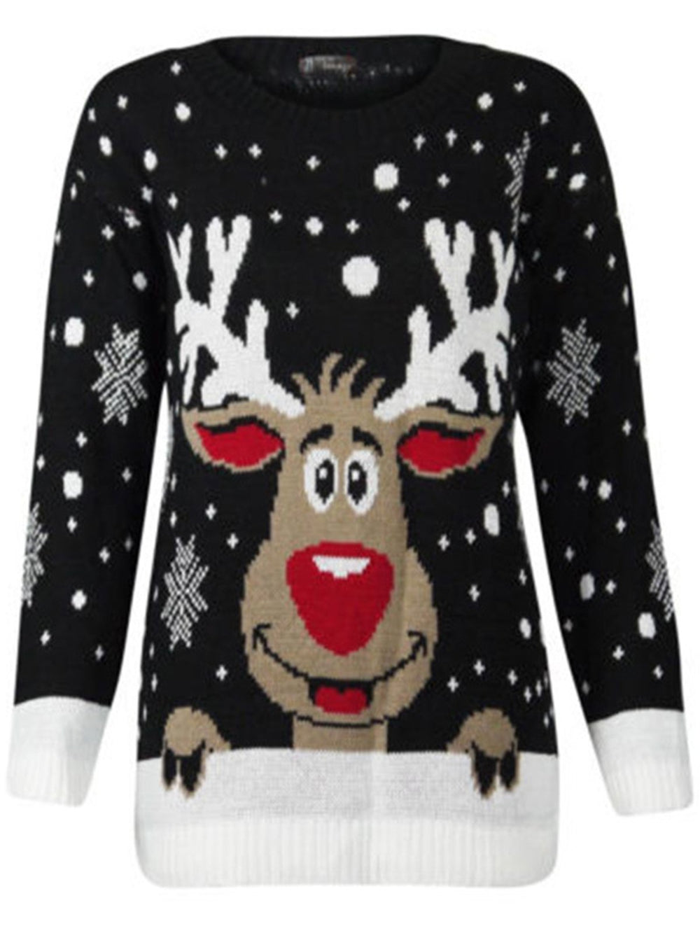 Christmas Deer Turtlehead Knitted Crew Neck Sweater
