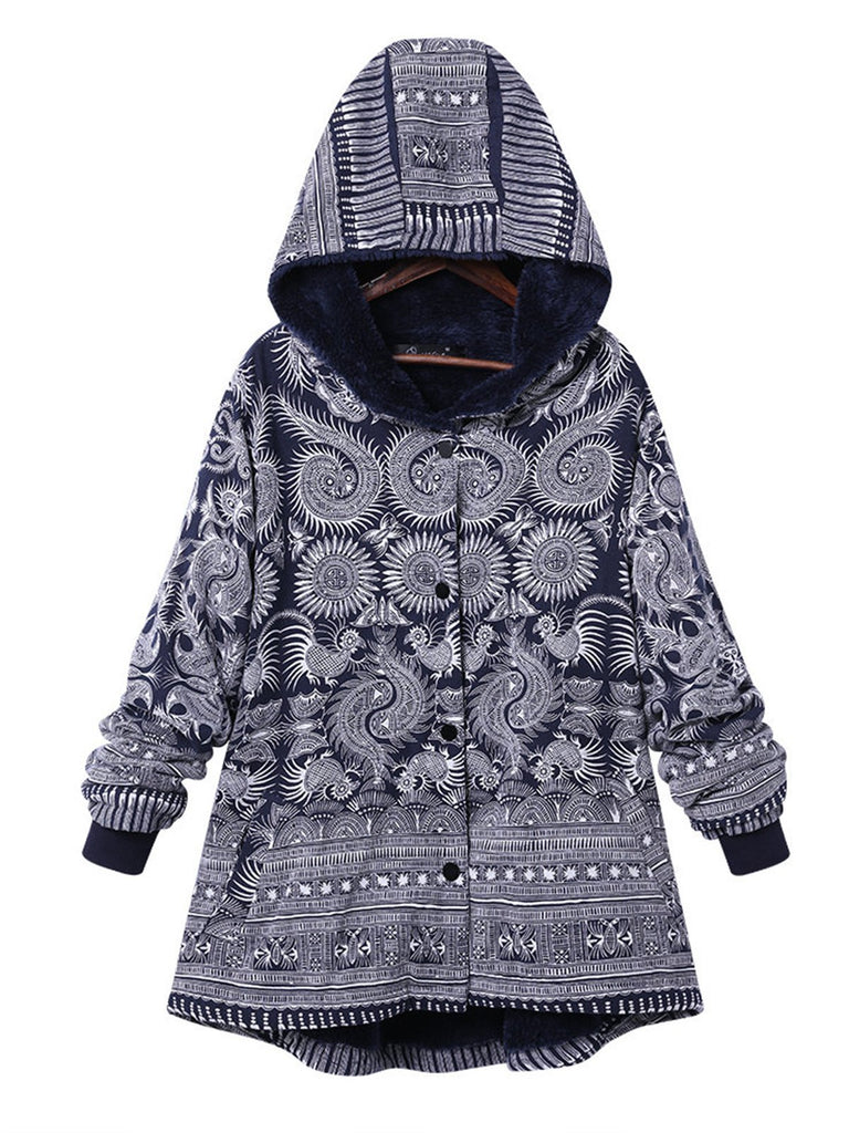 As Picture Casual Tribal Pockets Long Sleeve Hoodie Coat