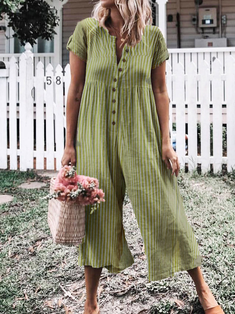 Casual Short Sleeve Striped Beach Holiday Jumpsuit
