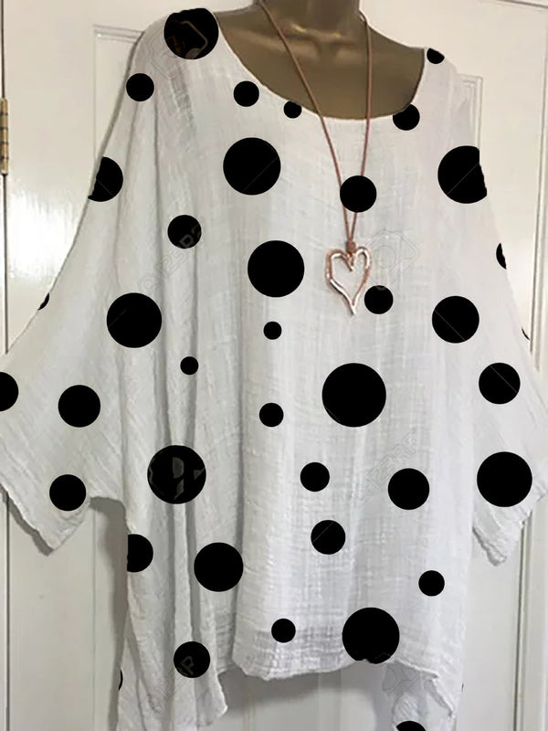 Polka Dots Batwing Blouses Casual Crew Neck Plus Size Top
