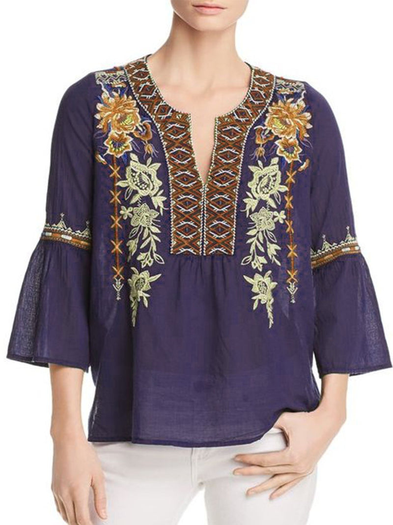 Deep Blue Embroidered Cotton-Blend Sweet Shirts & Tops