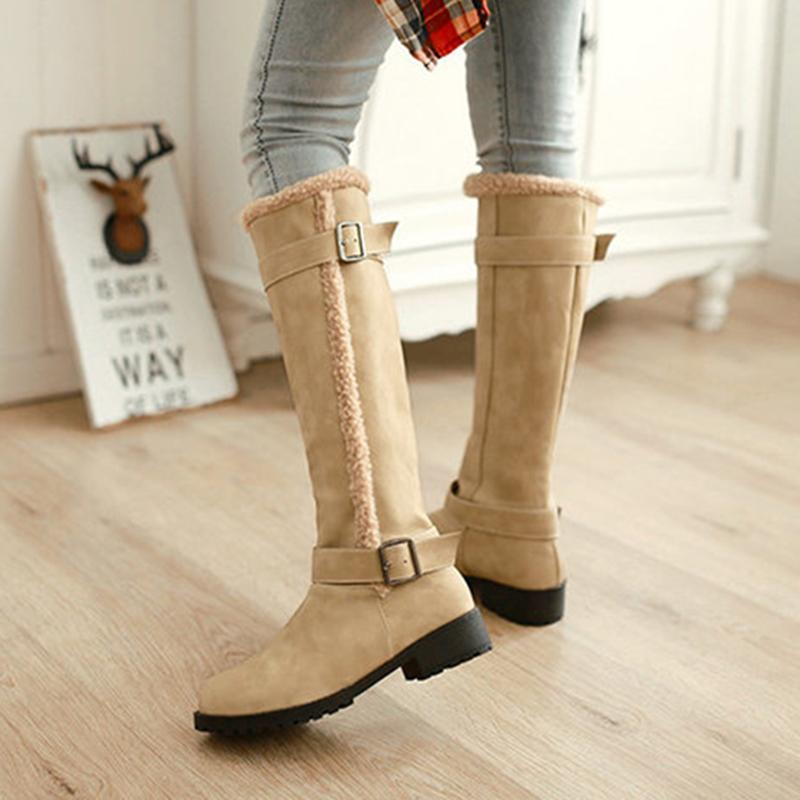 Adjustable Buckle Chunky Heel Warm Casual Boots