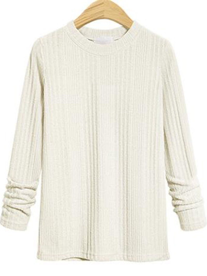 Basic Round Neck Long Sleeve Sweater