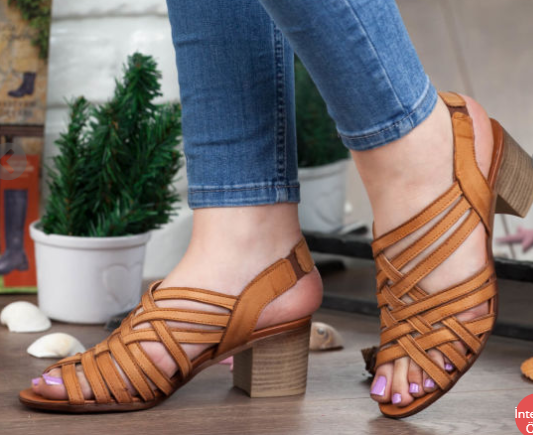 Women's Elastic Band Peep Toe Heels Vintage Sandals