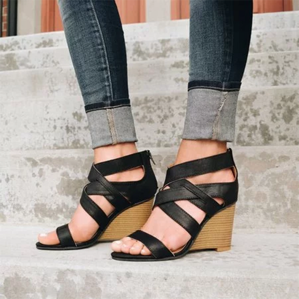 Cross belt ladies wedge sandals