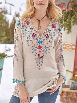 V Neck Casual Long Sleeve Printed Blouse