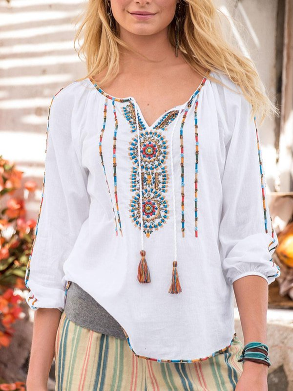 Long Sleeve V Neck Cotton-Blend Shirts & Tops