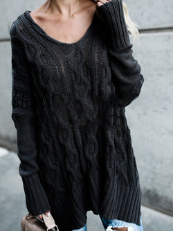 Black Long Sleeve Casual Knitted V neck Tops