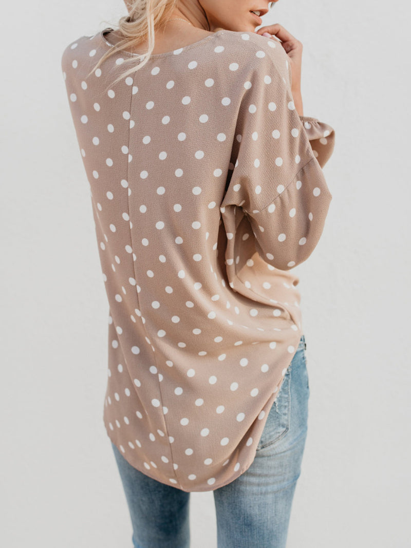 Apricot Basic Polka Dots Tops
