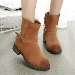 Casual Round Toe Chunky Heel Boots