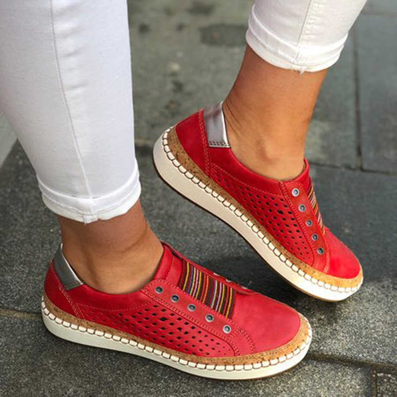 Womens Slip On Sneakers Hollow Out Casual Shoes