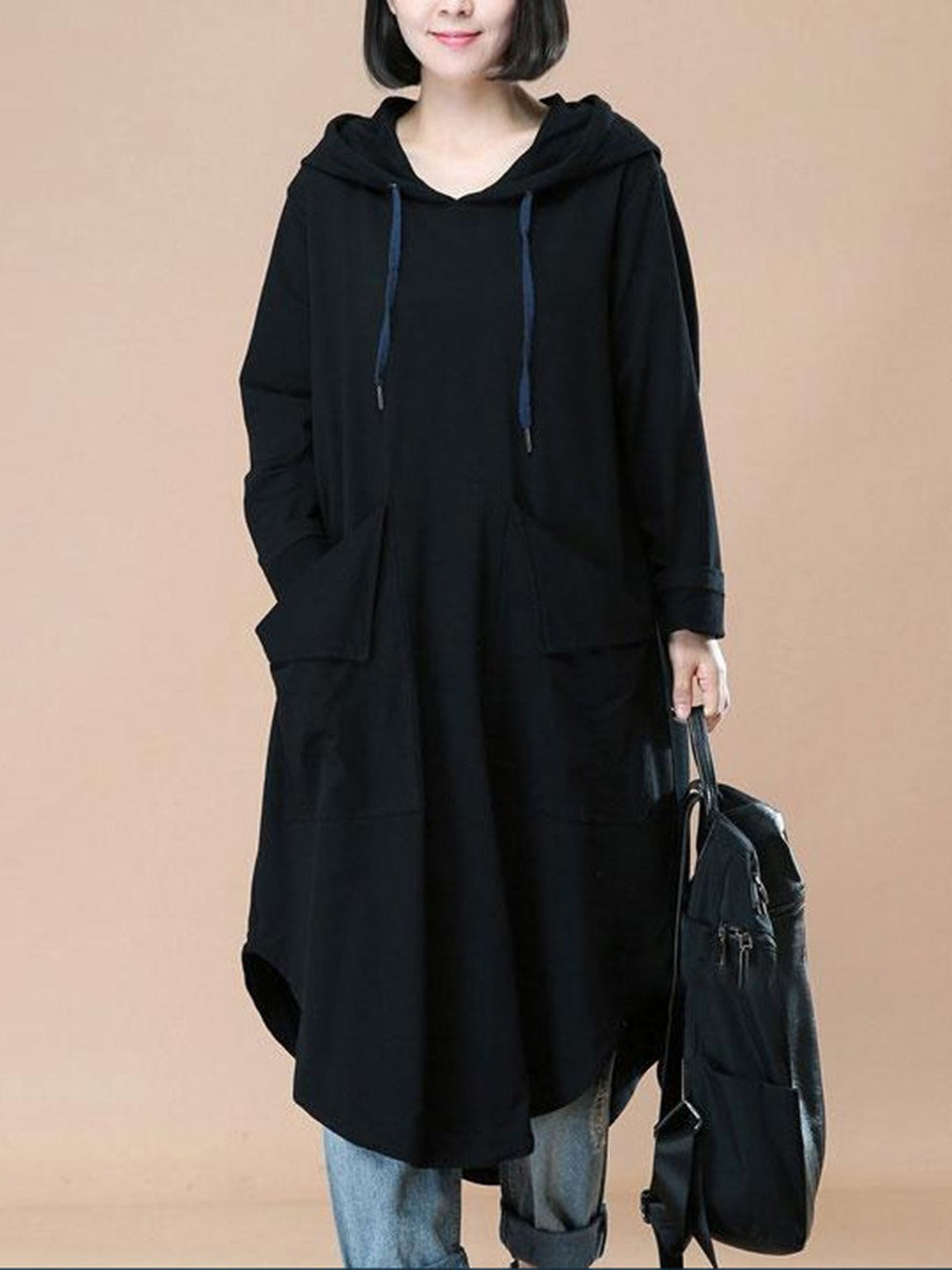 Casual Long Sleeve Pockets Solid Hoodie Dress