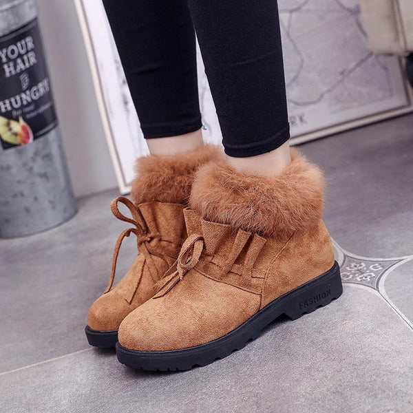 Casual Flat Heel Fleece Lined Lace-up Short Boots