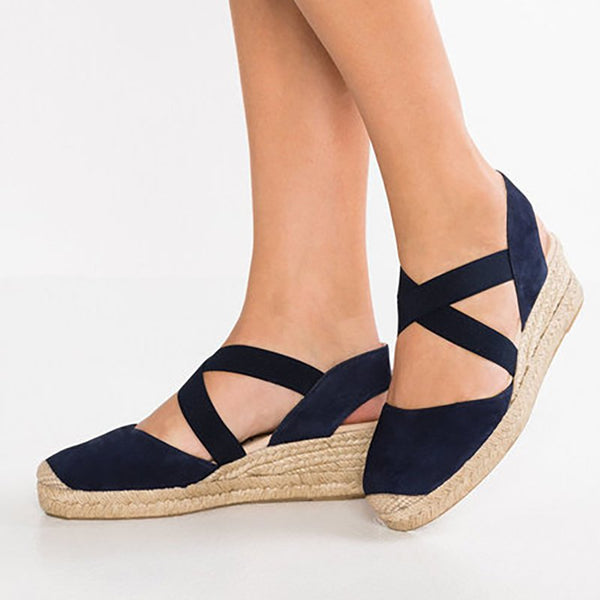 Casual Solid Daily Wedge Heel Elastic Band Summer Simple Sandals