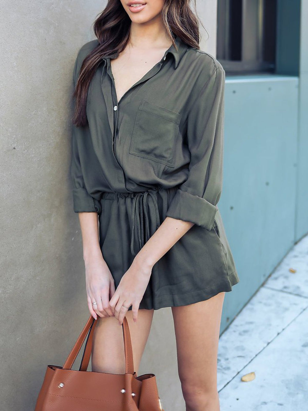 Basic Shirt Collar Solid Long Sleeve Jumpsuits